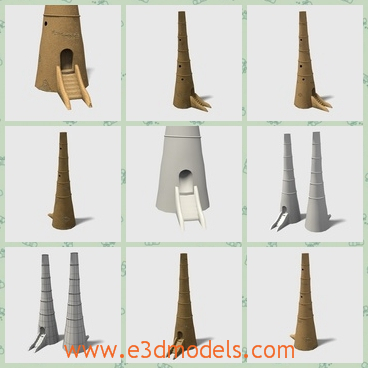 3d model the watch tower in Arabia - This is a 3d model of the watch tower in Arabia,which is small and thin.The building is built in the desert and the it is the mark of traditional make.
