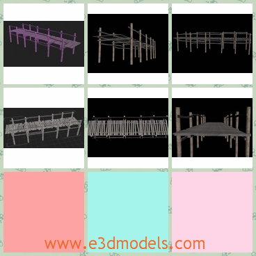 3d model the wooden dock with fences - This is a 3d model of the wooden dock with fences,which is made in wood and the brdge is long and special.