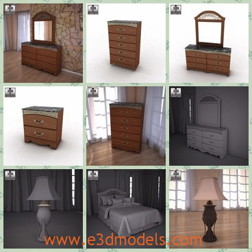 3d model the wooden furniture in the room - This is a 3d model of the wooden furniture in the room.This collection flawlessly captures the warmth of finely crafted traditional furniture.