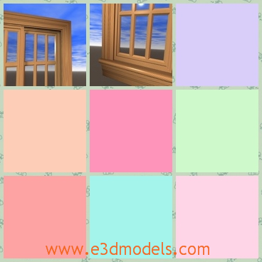 3d model the wooden window - This is a 3d model of the wooden window,which is fine and realistic.The window is large and modern.