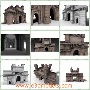 """3d models about the Gateway of India Mumbai - These are the 3d models about the beautiful Gateway of India Mumbai. The gateway is very huge and tall with thick stone walls and a symmetrical structure.The Gateway of India""""!It uses the ORIGINAL textures of the building."""