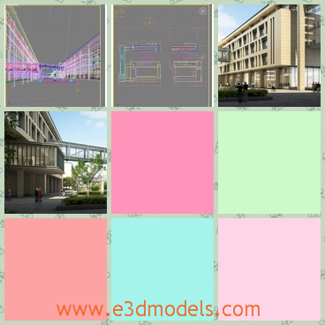 3d models of a grand building - There are 3d models which show us a grand building. This building has four storeys and yellow walls.