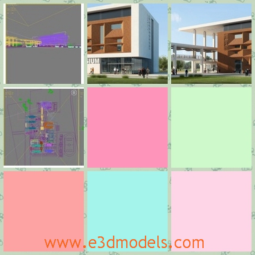 3d models of a pretty construction - There are some 3d models which show us a pretty construction. This is a large building with deep yellow walls and pure white walls.