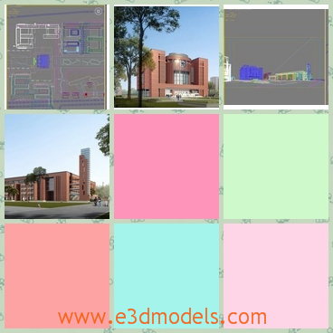 3d models of a red building - These are 3d models which give us different views of a red building. The red building is very long but not very tall.