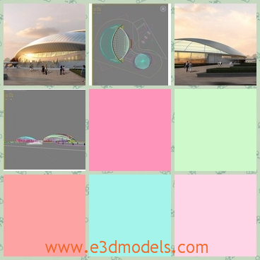 3d models of a white theater - Through these 3d models we can see a nice white theater which has a huge white roof. The theater looks like a half egg with glass surfaces.