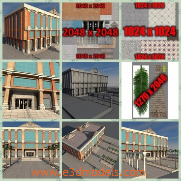 3d models of a yellow building - These 3d models are about a yellow building which has yellow exterior which is partly covered by glases.This scene has high-res texture so you can also use them for static renders.