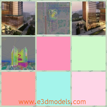 3d models of a yellow city building - This 3d model shows us a tall yellow building with glossy glass surface. Around the building there are people walking on the pavement and cars running on the street.