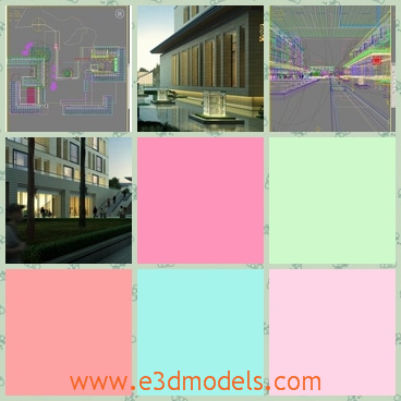 3d models of buildings - There we can see some 3d models which show us a few big buildings along the street. These buildings have gray walls and huge windows.