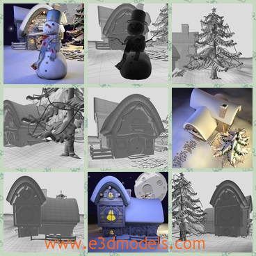 3d models of cartoon Christmas landscape - These 3d models are about cartoon Christmas landscape which is covered with thick white snow and there is a small house and a snowman.
