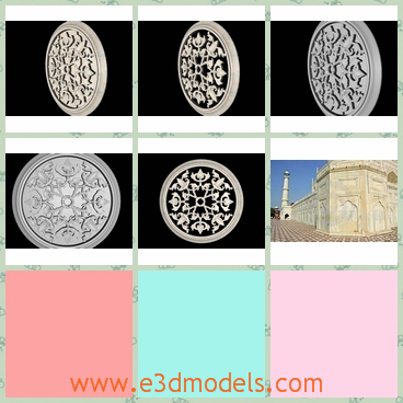 """3d models of carved round medallion bas - This 3d model is a carved round medallion base which is very beautiful with intricate design. This model is part of the big project &quotMY TAJMAHAL"""", which is under modeling process."""