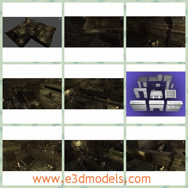 3d models of complex temple walls - These 3d models show us the maze-like temple walls. These walls have dark gray color and are very old.