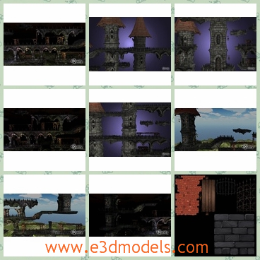 3d models of dark castles - These 3d models are about some black castles which are old and shabby.This pack contains models suitable for creating modular platform level.