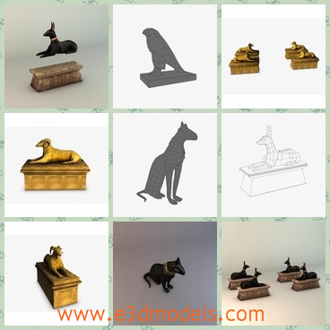 3d models of golden statues - These are 3d models of egyptian statues which are perfect for games, scenes or renders. These statues are mainly about animals.