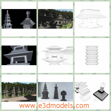 3d models of Japanese stone lanterns - These 3d models are about several Japanese stoen lanterns.These stone lanterns are antique in appearance and exquite in structure.There are 3 Mossy Stone textures UV mapped for the certain models and 1 clean Stone texture.