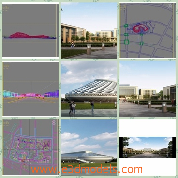 3d models of many buildings - There are several 3d models which are about different buildings. One building has an oval shape and white surfaces while another has a long white facade.