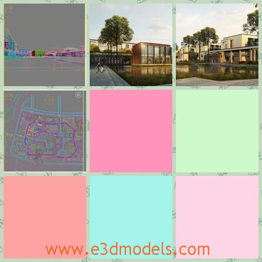 3d models of several buildings - Here are some 3d models which show us several buildings. These buildings have white walls and are of the same structure.