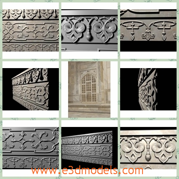 3d models of Taj mahal carved moldings - Share and Download 3D