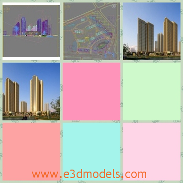 3d models of tall buildings - There are some 3d models which present you some tall buildings in the city. These buildings are very tall and have dull yellow surfaces.