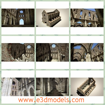 3d models of the cathedral San Galgano - This 3d model is about the famous cathedral San Galgano. All the images were rendered with mental ray and all the materials are standard materials