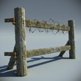 3d model the wooden fence