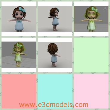 3d model a cartoon girl with short hair - This is a 3d model about a cartoon girl with short hair,who has a dress and a bowknot on her head, and who is so cute.