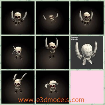 3d model a mini skeleton with two daggers - This is a 3d model of a mini skeleton,which has two daggers in the hands upon the head.The body and the head is split.