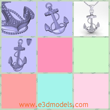 3d model a pendant with jewelry - This is a 3d model of the anchor pendant,which is made of the jewelry and gold.The model is printable and charming.