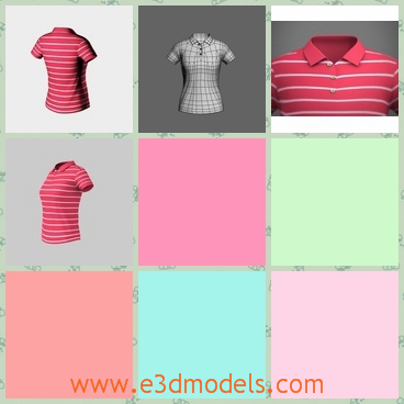 3d model a polo shirt for female - This is a 3d model of a Polo shirt for female,which is striped with pink and white.The moder is commom for ordinary people.