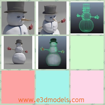 3d model a snowman with a long nose - This is a 3d model of a snowman with a long nose and a hat,which is created by three snowballs,and  the body is one mesh with separate shells for the gloves.