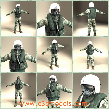 3d model fighter jet pilot - This is a 3d model about a fighter jet pilot,which is a male and covered a helmet on the head.The uniform and the equipment are very practical.