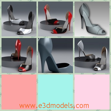3d model high heeled shoe - This is a 3d model about a high heeled shoe.The shape, the color and the material looks sexy.And the open part in the front of it looks more special.