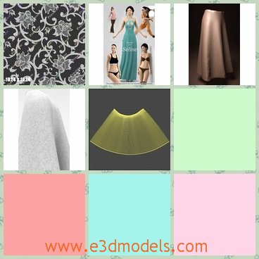 3d model of a skirt - This is a 3d model which shows us a nice skirt which is very long and it has flowery patterns. This skirt is made of fine cotton.