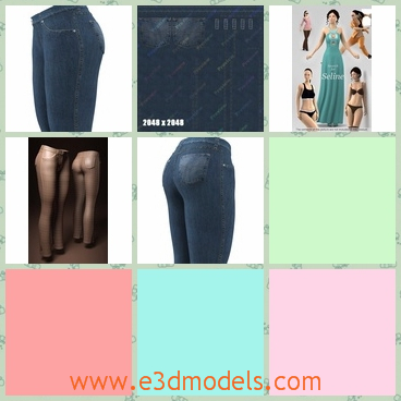 3d model of female jeans - This 3d model is about a pair of female jeans in blue color. The size of the legs can easily be modified through a morph target.