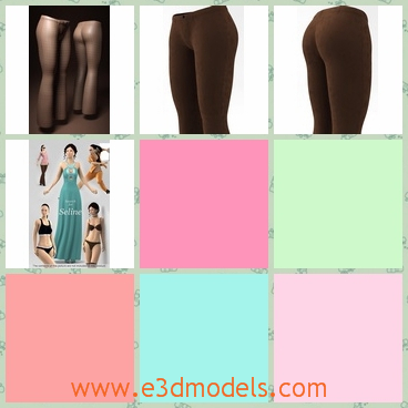 3d model of female pants - This 3d model is about a pair of female pants which have sexy lines. These pants have thin legs and big hips.