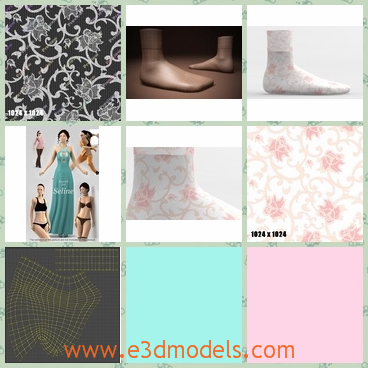 3d model of female socks - This 3d model is about some femal socks. These socks are short but soft and they have pretty designs such as pink flowers.