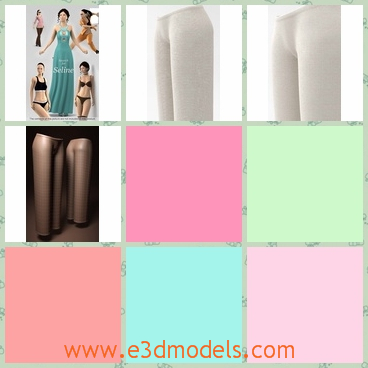 3d model of pants - This 3d model is about a pair of pants. This pants is very long and have wide legs and it is made of soft material.