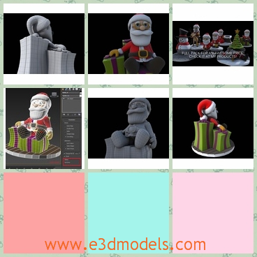 3d model of Santa and gifts - This 3d model is about the Santa and many gifts. The Santa is sitting on a heap of gifts and he smiles brightly.