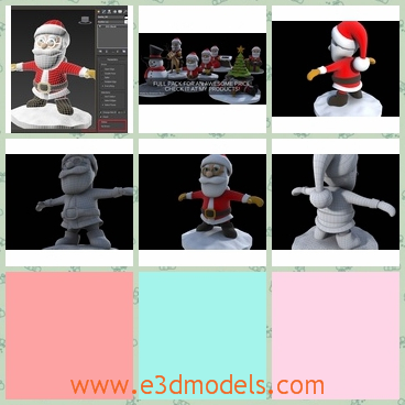 3d model of Santa Claus - This 3d model is about the cartoon character Santa Claus who wears a thick red overcoat and a cute red hat. He stands upriht and smiles happily.
