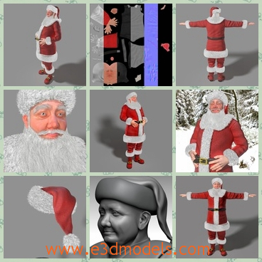 3d model of Santa Claus - This is a 3d realistical and detailed low poly model of a Santa Claus created in 3ds max 2013 and zbrush 4R6 and it is ready for animation.