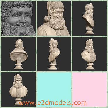 3d model of Santa Claus bust - Here is a super detailed printable 3d model of a Santa Claus bust. We can see fantastic details in this sculpture.