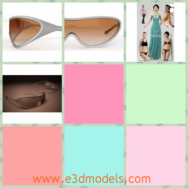 3d model of sports sunglasses - This 3d model is about a pair of sports sunglasses. This pair of sunglasses have only one whole lens in tan color and a thin gray frame.