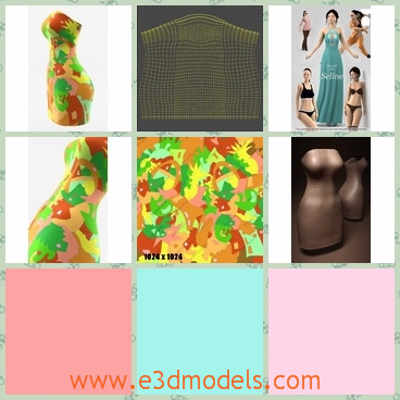 3d model of strapless tube dress - This 3d model is about a strapless tube dress which is tight and sexy. This tube has bright yellow and green colors and it can make women look hot.