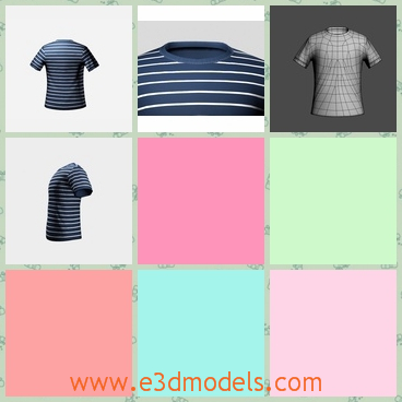 3d model of striped T-shirt - This 3d model is about a T-shirt for men. This T-shirt has blue and white stripes and it is made of soft cotton.