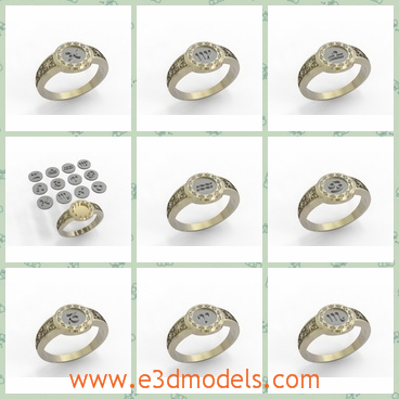 3d model ring zodiac - This is a 3d model of a kind of ring with beautiful design on the  front part.The entire shape is unique and special.It has jewelry as decoration.