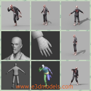 3d model the barefooted zombie - This is a 3d model of the barefooted zombie,which is scary and horrible to see.The model is a male and his skin is opened.