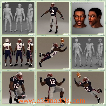 3d model the black football player - This is a 3d model of the black football players,which is coming from America and he is famous and he has a helmet in his head.The player is from African.