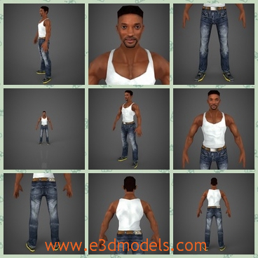 3d model the black guy - Thi sis a 3d model of the black guy,who has musclea and looks strong and sexy.He is standing on the ground with jeans.