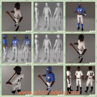 3d model the black player - This is a 3d model of the black player,which is animated and textured.The model is a famous African American baseball player.