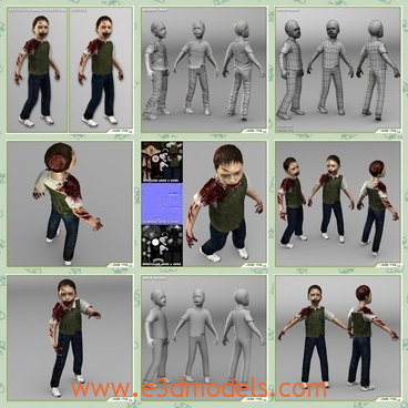 3d model the boy zombie - This is a 3d model of the boy zombie,whose arm is broken and bleeding.The boy is standing on the ground and he is not under control by himself.