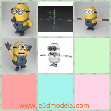 3d model the cartoon figure - This is a 3d model of the cartoon figure in the movie Despicable Me.He is a minion,but he is so cute and charming.Many people like him.